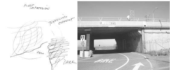 Fig.2 : Le passage du tunnel pour se rendre au site
