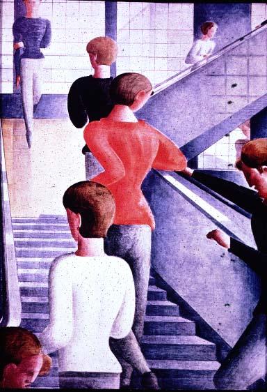 Figure 11. Oskar Schlemmer, Bauhaus Stairway, 1932. Huile sur toile 638x45. Musée d'Art Moderne, New York. Don de Philip Johnson.