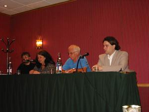 De gauche à droite : Pierre Lagrange, Isabelle Stengers, Bertrand Méheust et Grégory Gutierez